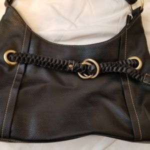 Nine West Shoulder Bag Black Braided Detail EUC